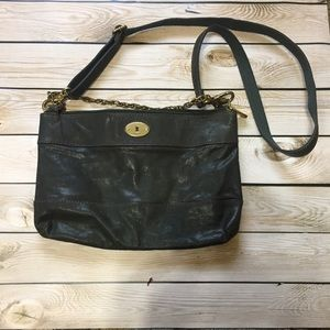 Fossil Teal Leather Cross Body Bag